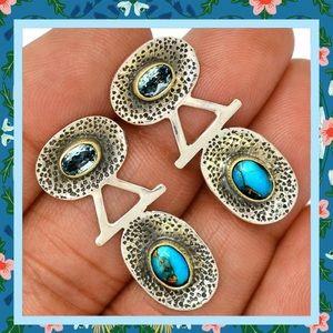 Blue Topaz & Turquoise Artisan .925 Post Earrings
